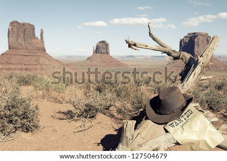 cowboy hat in front of Monument Valley, USA