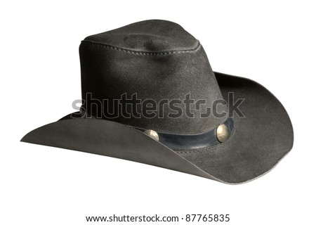 cowboy hat made of dark leather in white back