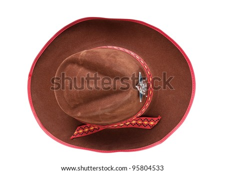 cowboy hat with the star sheriffs isolated on white background #95804533