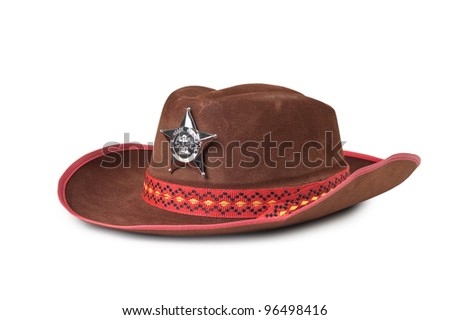 cowboy hat with the star sheriffs isolated on white background #96498416
