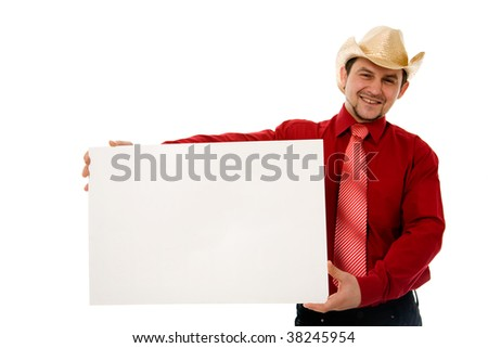 Cowboy holding empty message board over white