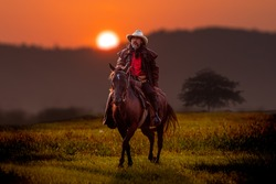 Cowboy horseback riding transportation at sunset time with sunlight ray sky background.