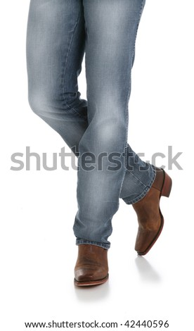 Cowboy Legs in Jeans and Boots