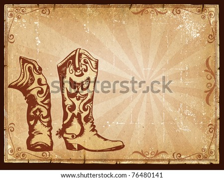 Cowboy old paper background for text with decor frame .Retro image for text