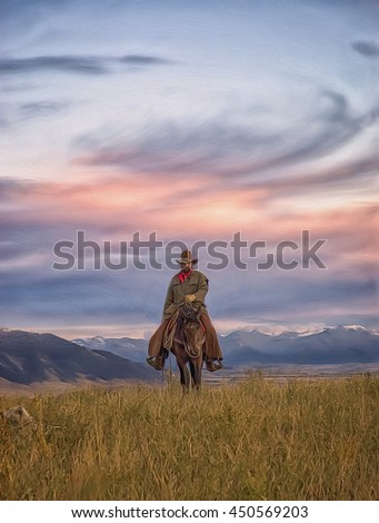 Cowboy on horseback at first light,photo art #450569203