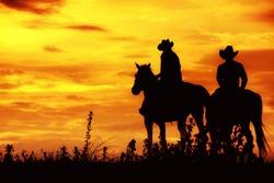 Cowboy on horseback. ranch