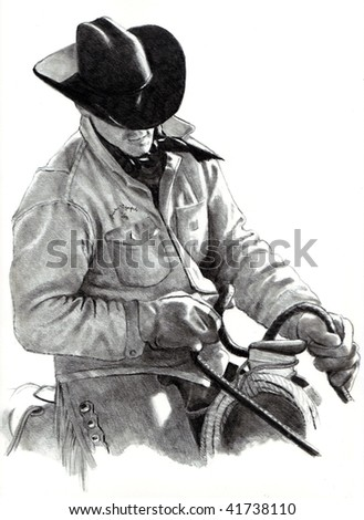 Cowboy Pencil Drawing