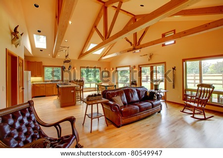 cowboy ranch living room in washington state with leather sofas stock photo 80549947 shutterstock. Black Bedroom Furniture Sets. Home Design Ideas
