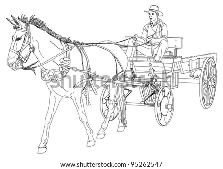 Cowboy rides in a wagon pulled by a horse. series of Wild West. Bitmap copy my vector drawing