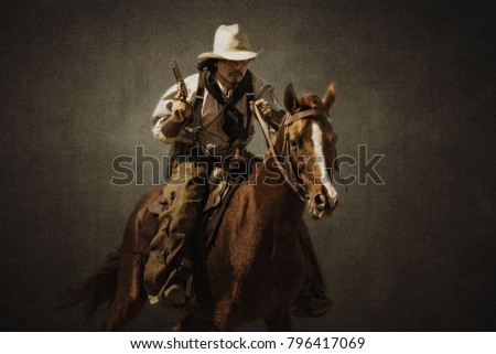 Cowboy riding a horse carrying a gun on a  texture background.