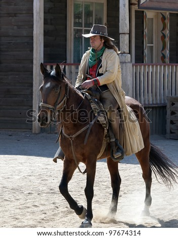 Cowboy riding his horse at Mini Hollywood, Tabernas, Almeria Province, Andalusia, Spain