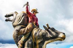 Cowboy sculpture in Williams Lake British Columbia Canada