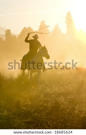 Cowboy silhouette galloping and roping through the desert