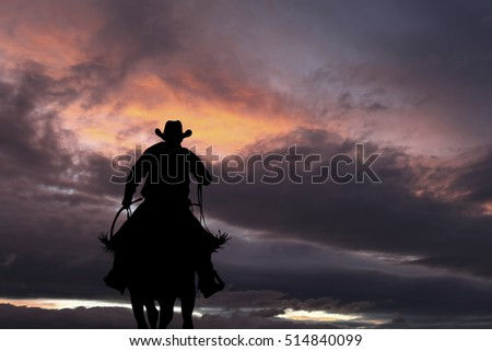 cowboy silhouette on a horse...