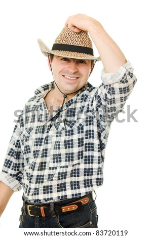 Cowboy takes off his hat.
