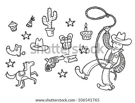 cowboy theme - stock photo