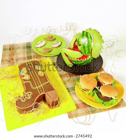 Cowboy Snack Ideas http://www.shutterstock.com/pic-2745492/stock-photo-cowboy-theme-party-food.html