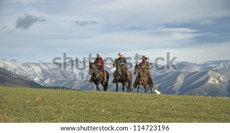Cowboys on the range, Montana horse ranch