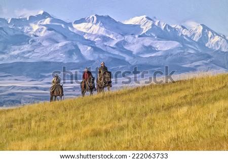Cowboys riding the range in Montana