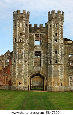Cowdray Ruins, West Sussex The ruins of the great Tudor house of Cowdray in Midhurst, West Sussex. - stock photo
