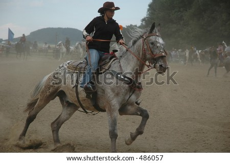 cowgirl on rodeo show - stock photo