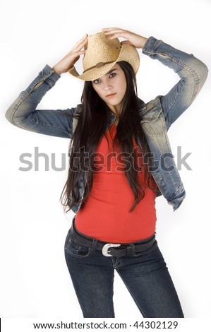 Cowgirl posing on a pure white background