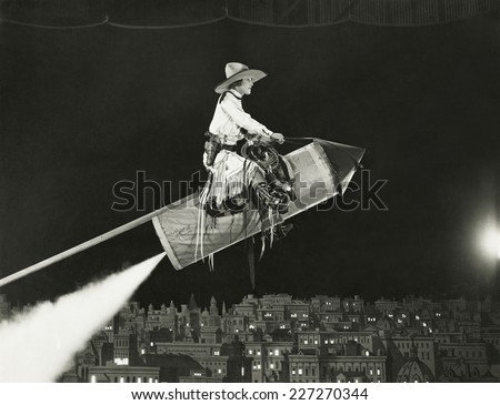 cowgirl takes off on a rocket