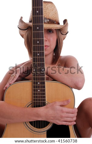 Cowgirl with Hat and Guitar