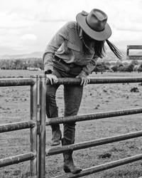 Cowgirl Working with Cows in Yards