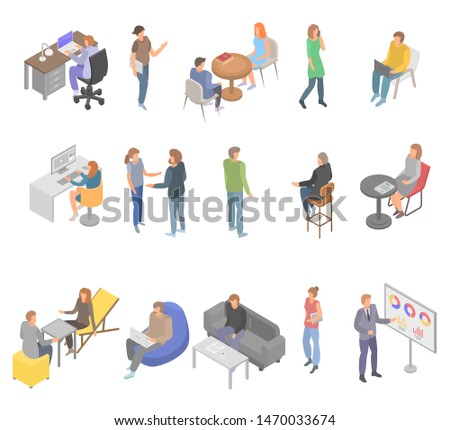 Coworking office business icons set. Isometric set of coworking office business icons for web design isolated on white background
