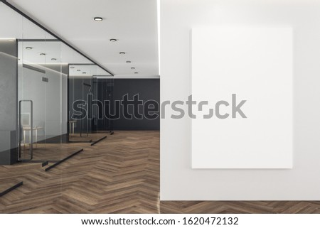 Coworking office interior with blank poster on wall. Mock up, 3D Rendering