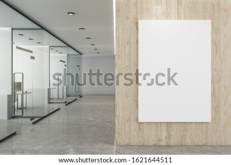 Coworking office interior with empty billboard on wooden wall. Mock up. 3D Rendering