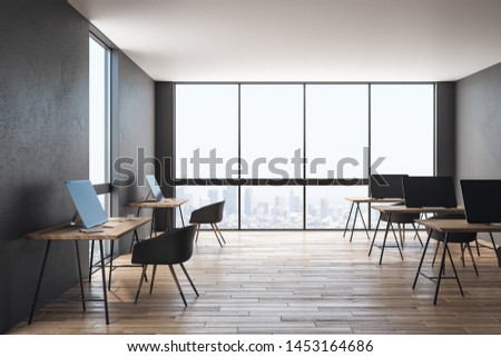 Coworking office interior with furniture, city view and daylight. Workplace and corporate concept. 3D Rendering