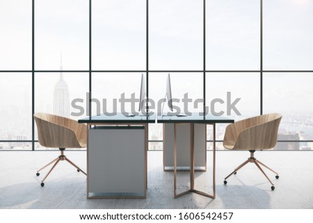 coworking office interior with  two computers and city view. 3D Rendering
