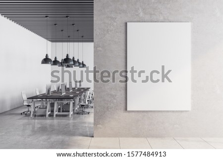 Coworking office room interior with empty billboard and daylight. Workplace design concept. Mock up, 3D Rendering