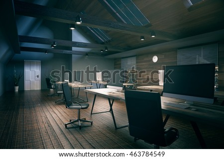 Coworking office room with blank computer display, wooden floor, walls, ceiling and night city view. Country style interior. Mock up, 3D Rendering