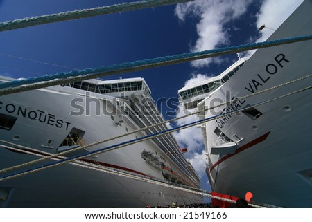 Cozumel, Mexico - Apr 4: Two cruises anchoring at the port, on April 4, 2008 in Cozumel, Mexico