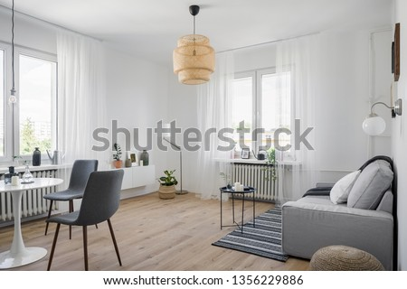 Cozy apartment interior with sofa, round table and chairs #1356229886