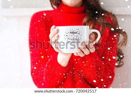 Cozy atmosphere girl with big cup coffee cacao chocolate christmas time winter