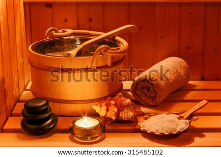 cozy atmosphere in the sauna at a spa area of wellness hotel. recreation and relax from everyday life.