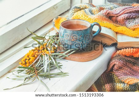 Cozy autumn morning at home. Ceramic cup with tea, branch of sea-buckthorn and a knitted blanket on the wooden windowsill, toned.