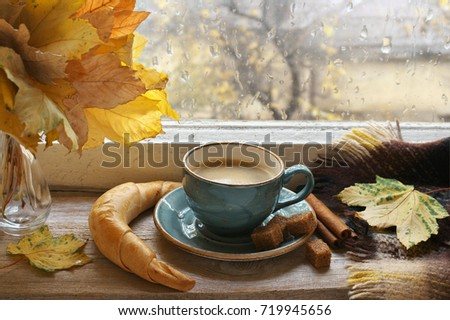 cozy autumn still life  cup of...