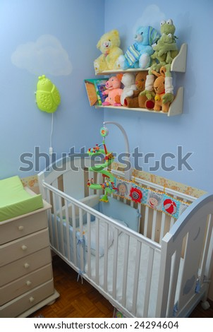 Cozy baby room with crib and toys
