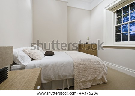 cozy bedroom with modern furniture and accessory