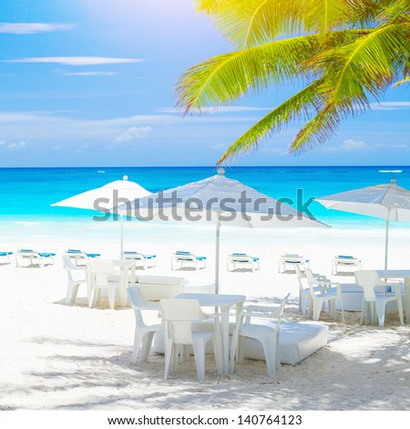 Cozy cafe on sandy sea shore, beautiful sea landscape, clean white chairs and tables under umbrellas, fresh green palm tree, luxury tropical resort, summer vacation concept