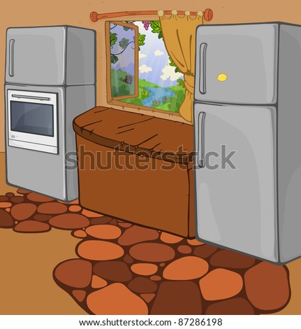 cozy cartoon kitchen with opened window share on cartoonkitchen on