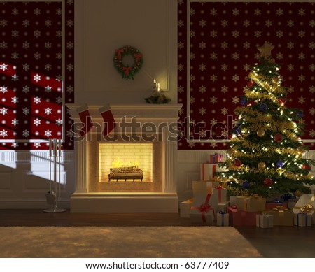 cozy decorated christmas fireplace at night with tree and presents frontal view
