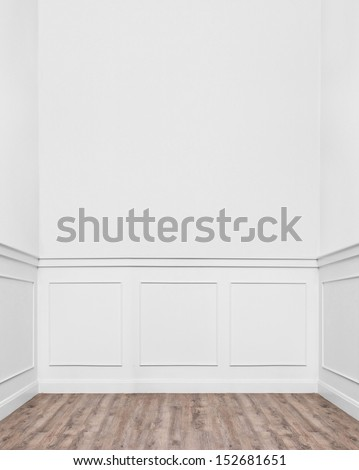 Cozy Empty Room With Bright Style Interior And Laminate Wooden Floor.
