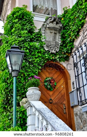 Cozy entrance in Durstein Austria along the river Danube