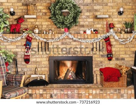 cozy fire in brick fireplace...